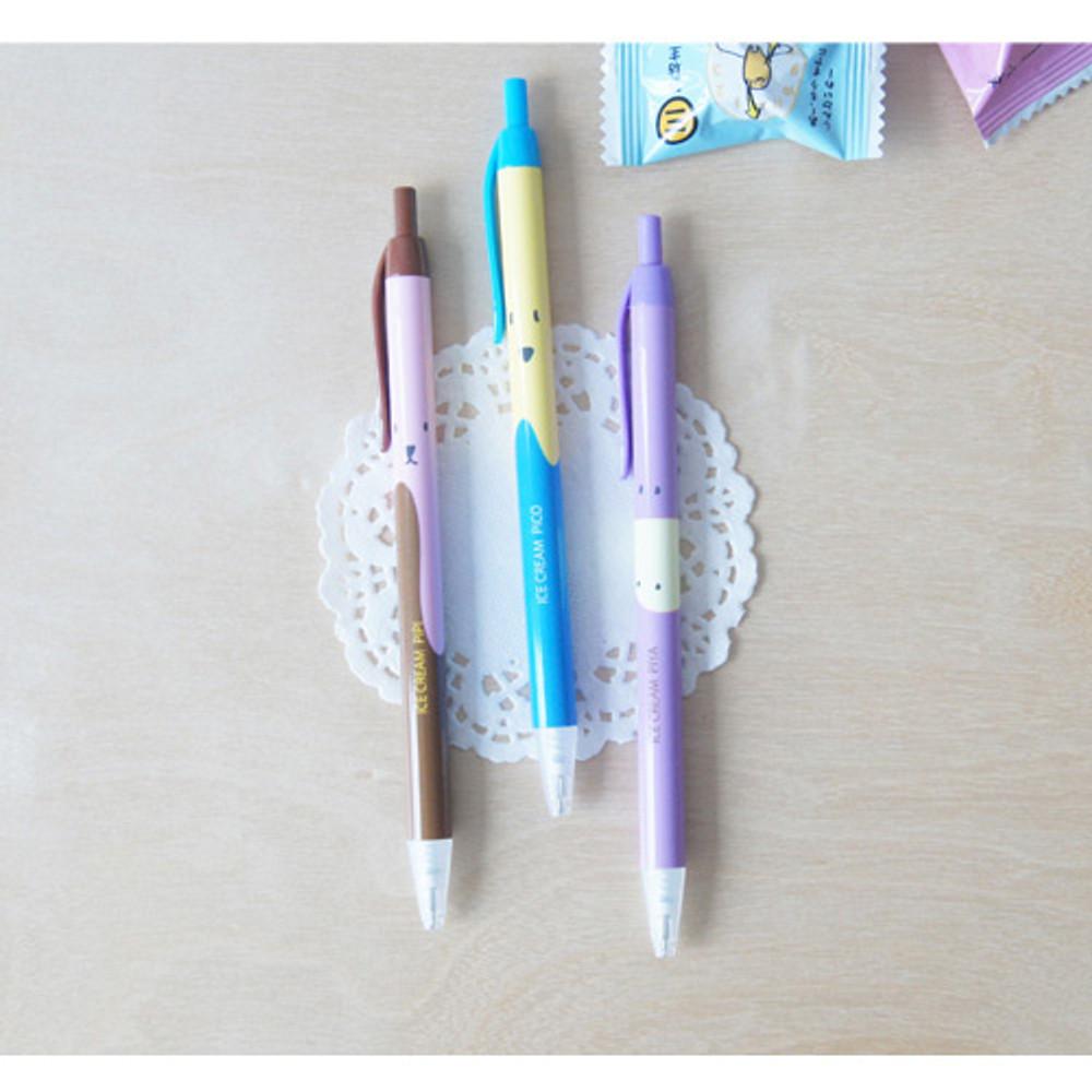 Ice cream knock retractable black ballpoint pen 0.38mm