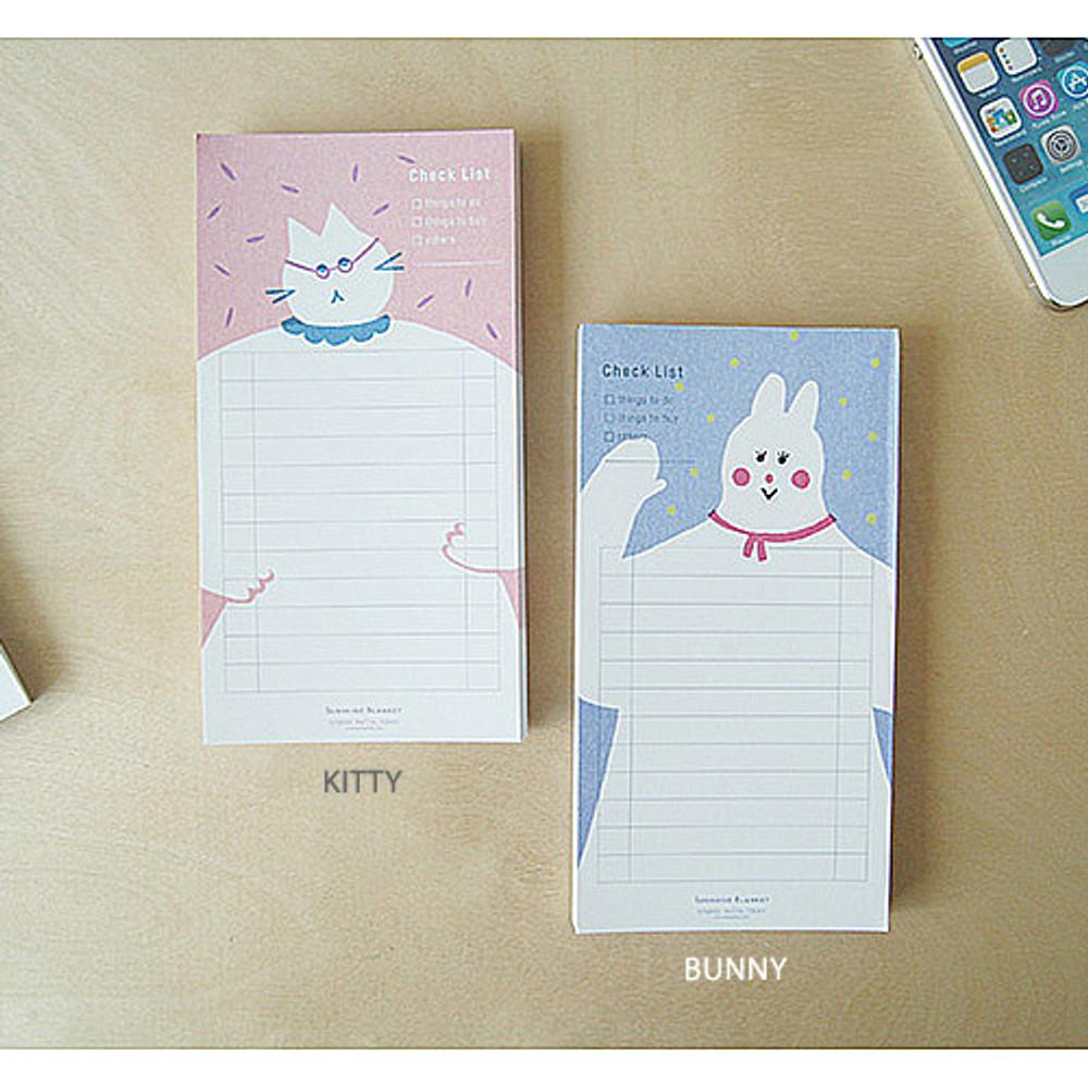 Kitty, Bunny - Sunshine blanket checklist notepad