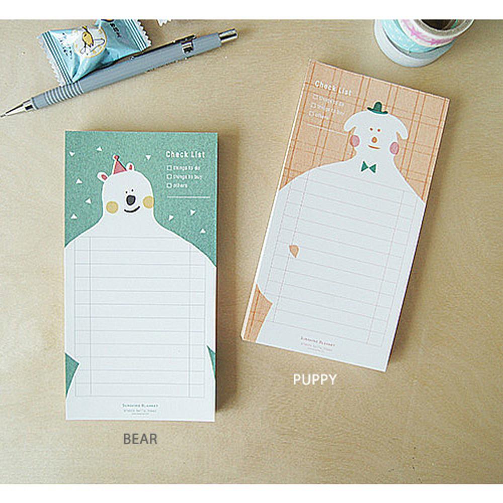 Bear, Puppy - Sunshine blanket checklist notepad