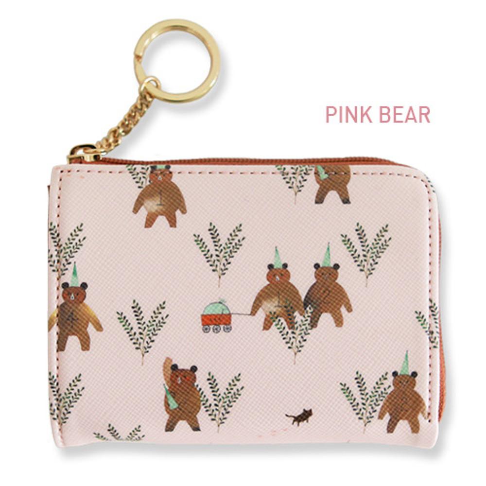 Pink bear - Willow pattern half zip around card case wallet