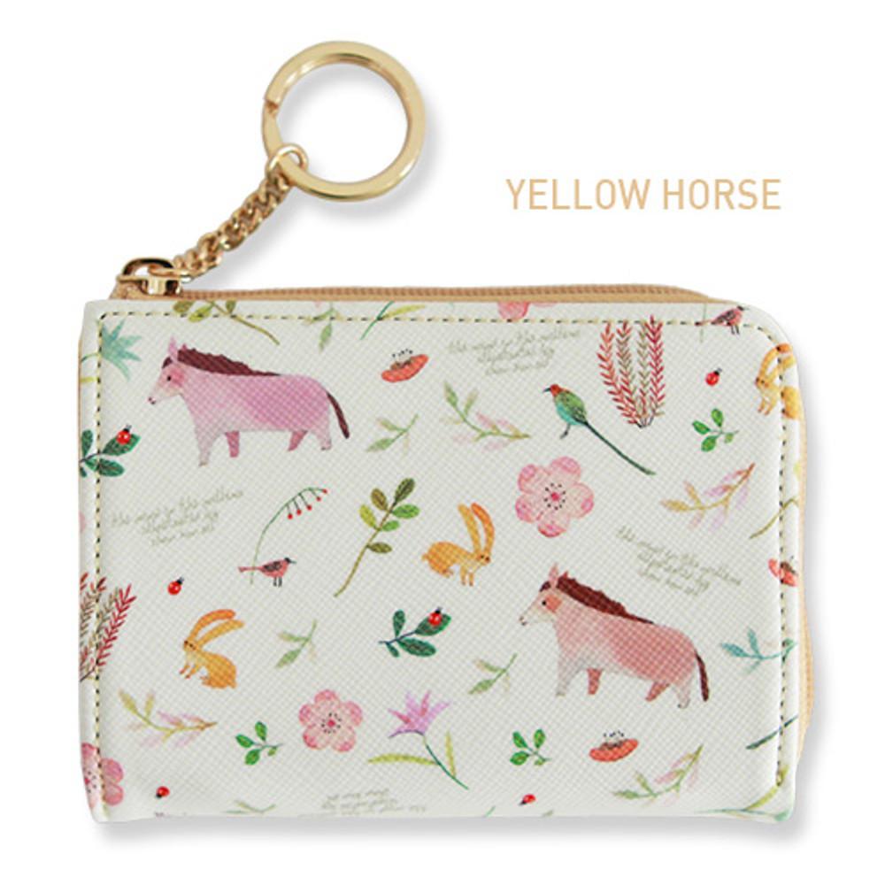 Yellow horse - Willow pattern half zip around card case wallet