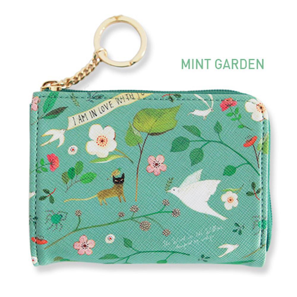 Mint garden - Willow pattern half zip around card case wallet