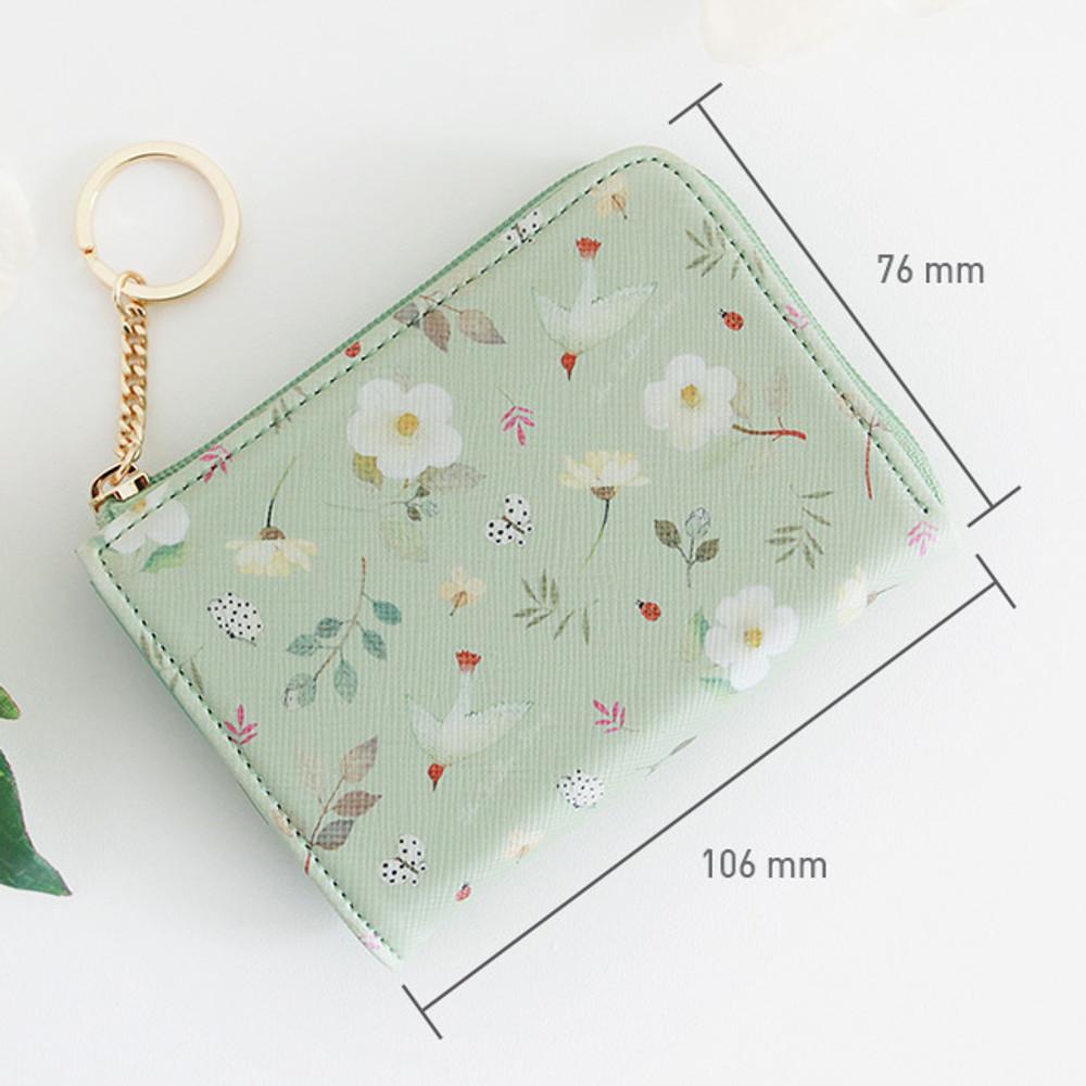 Size of Willow pattern half zip around card case wallet
