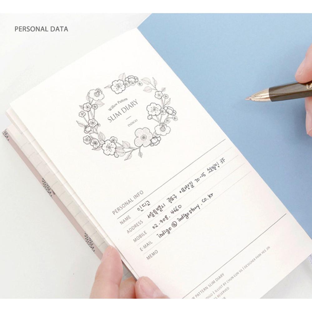 Personal data - Willow pattern slim undated diary scheduler