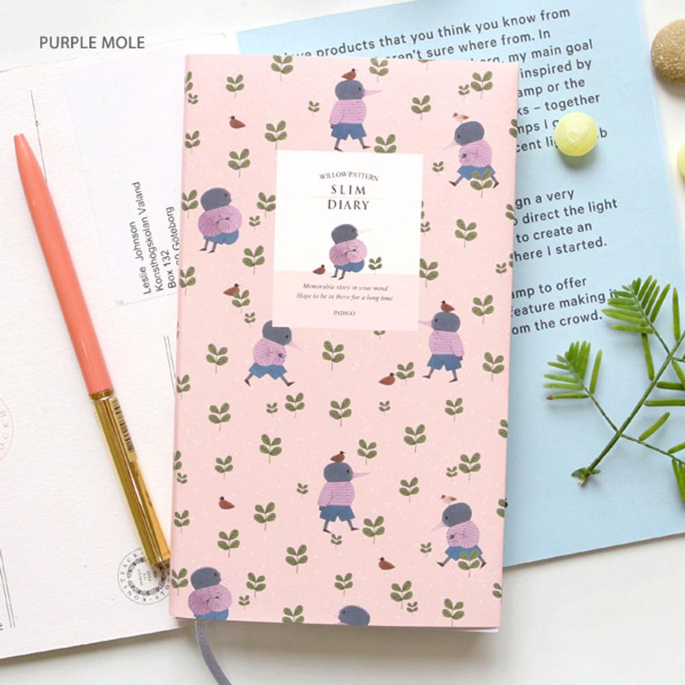 Purple mole - Willow pattern slim undated diary scheduler