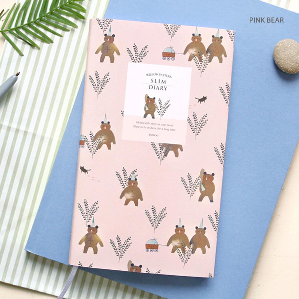 Pink bear - Willow pattern slim undated diary scheduler