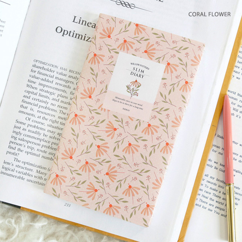 Coral flower - Willow pattern slim undated diary scheduler