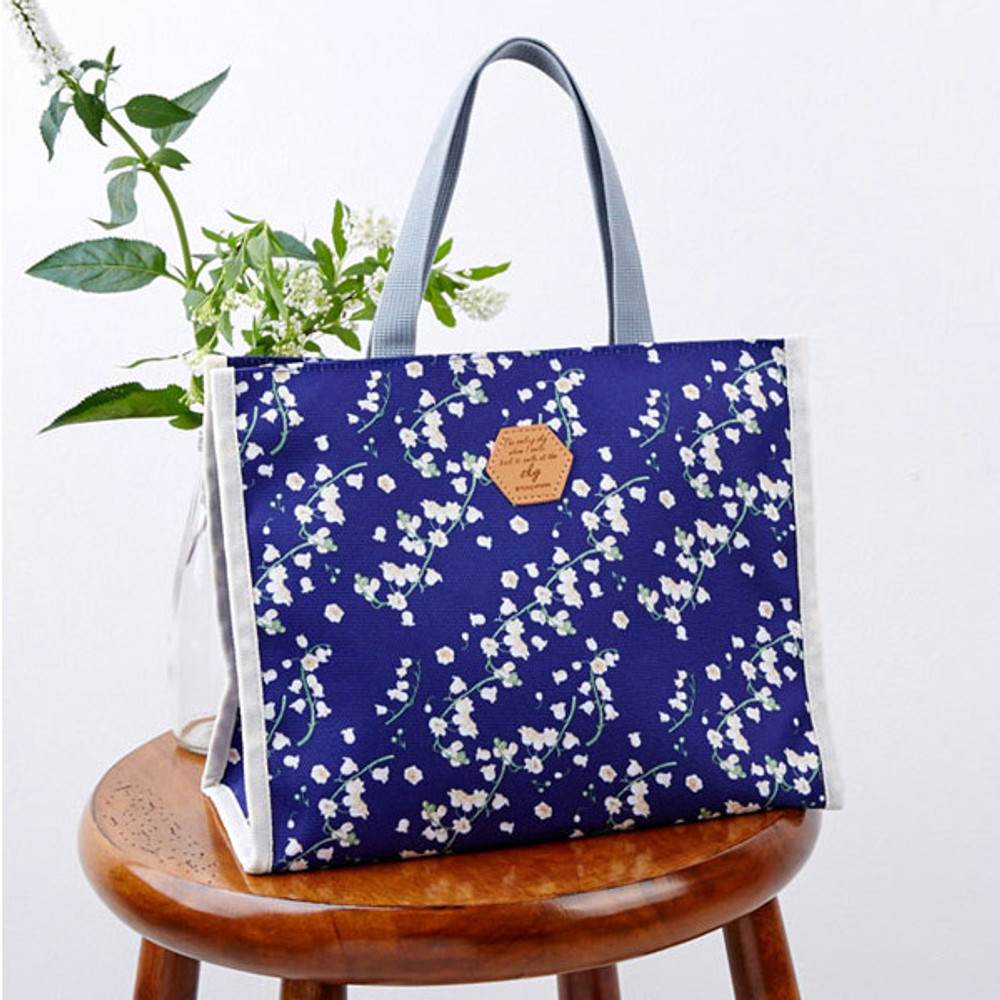 May lily - Blossom pattern multi zippered tote bag
