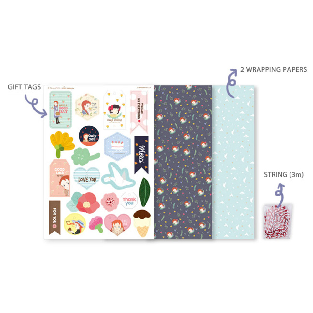 Composition - Anne of green gables pattern wrapping paper set