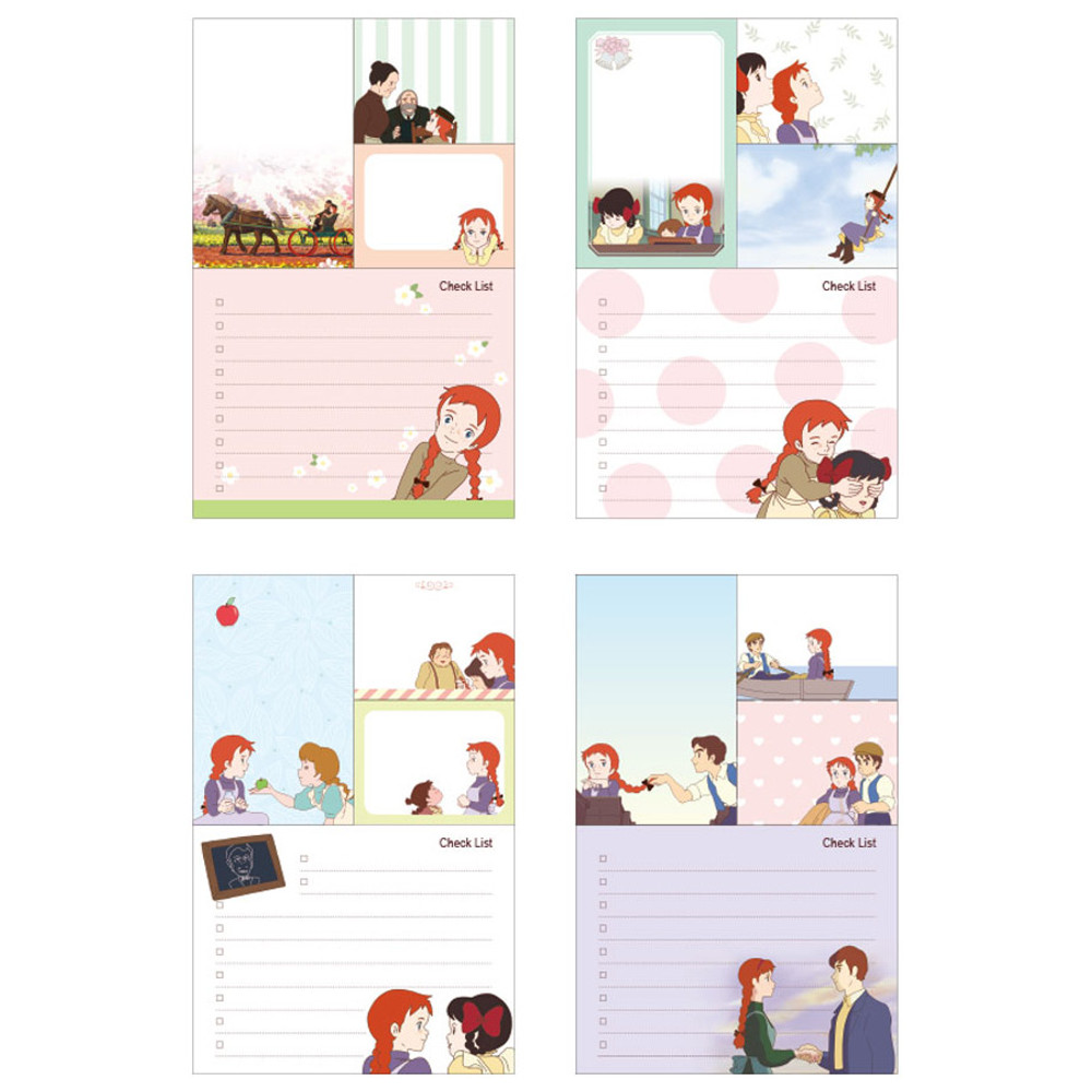 Anne of green gables sticky checklist memo notes