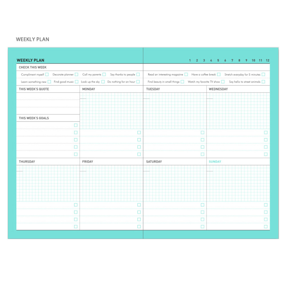 Weekly plan - Chill out undated weekly planner