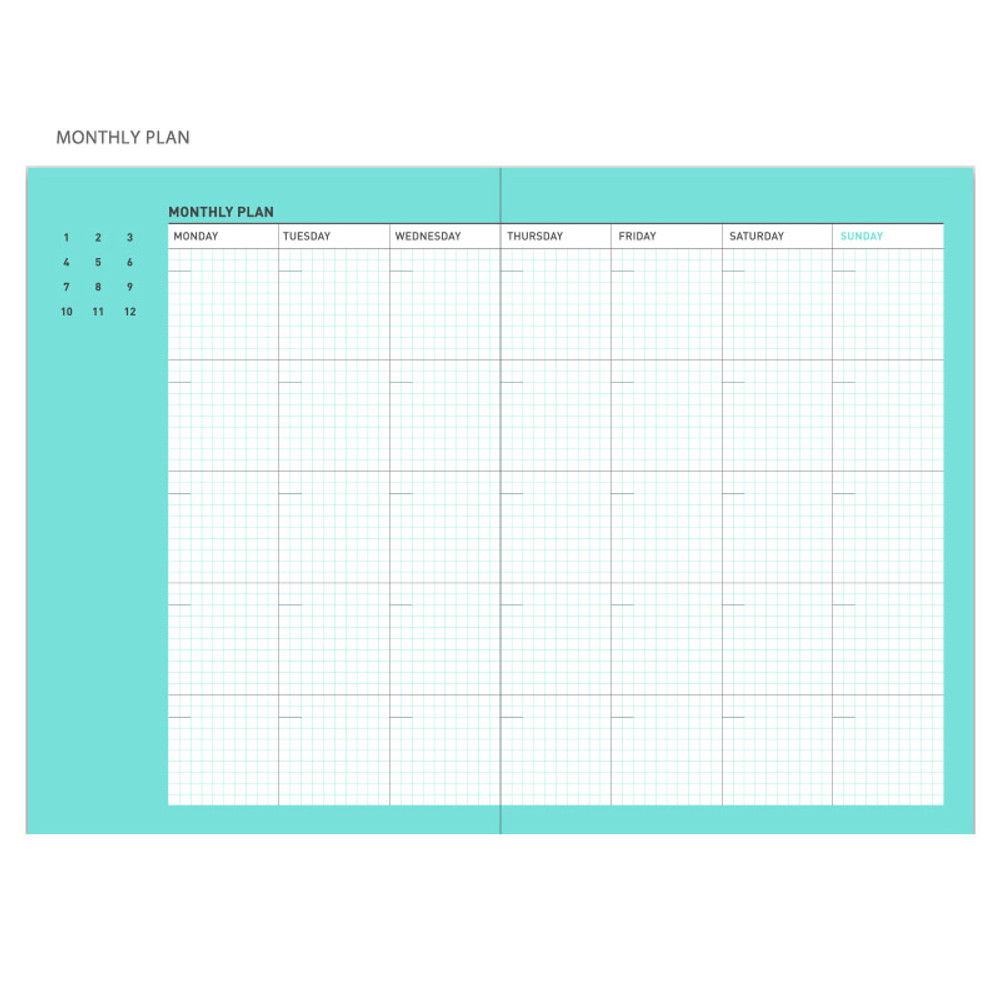 Monthly plan - Chill out undated weekly planner
