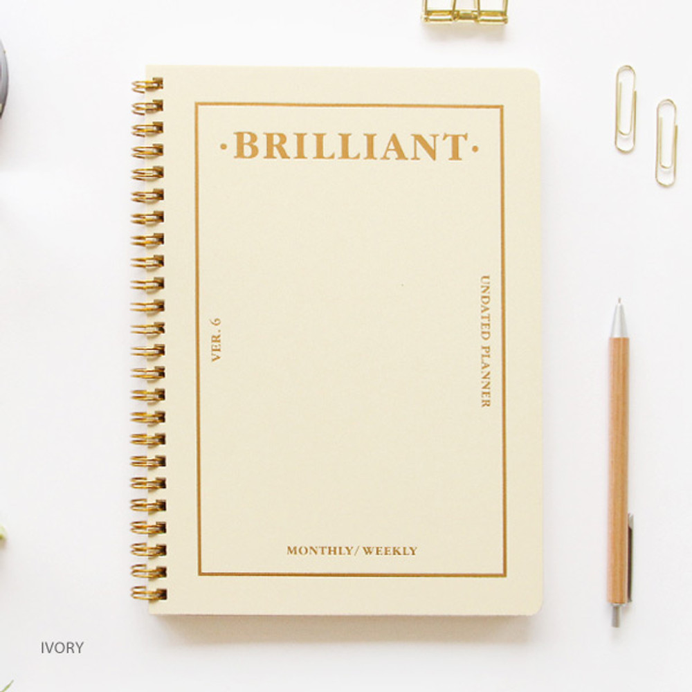 Ivory - Brilliant spiral undated weekly diary scheduler