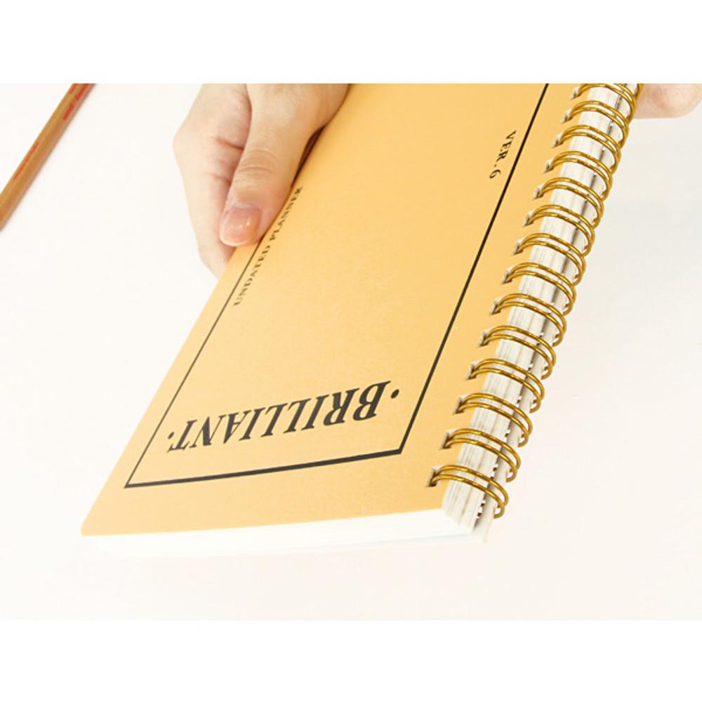 Detail of Brilliant spiral undated weekly diary scheduler
