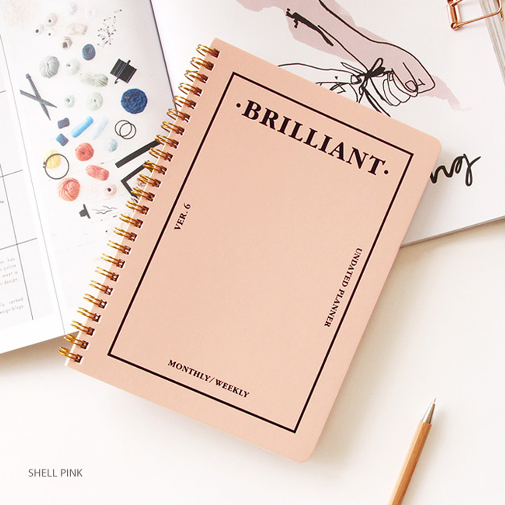 Shell pink - Brilliant spiral undated weekly diary scheduler