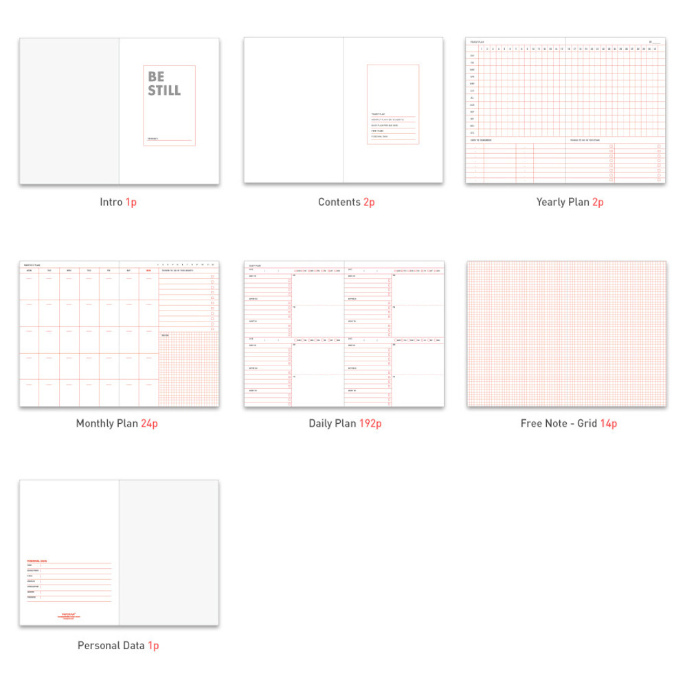 Composition of Be still undated daily planner
