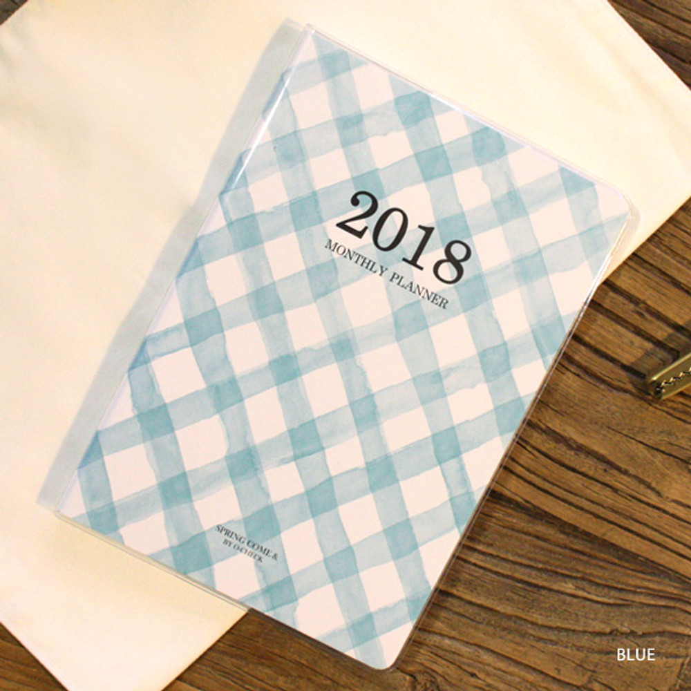Blue - 2018 Spring come pattern dated monthly planner