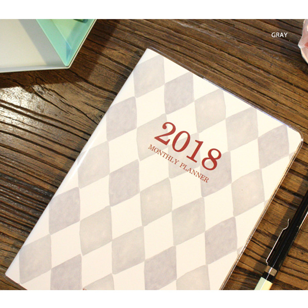 Gray - 2018 Spring come pattern dated monthly planner