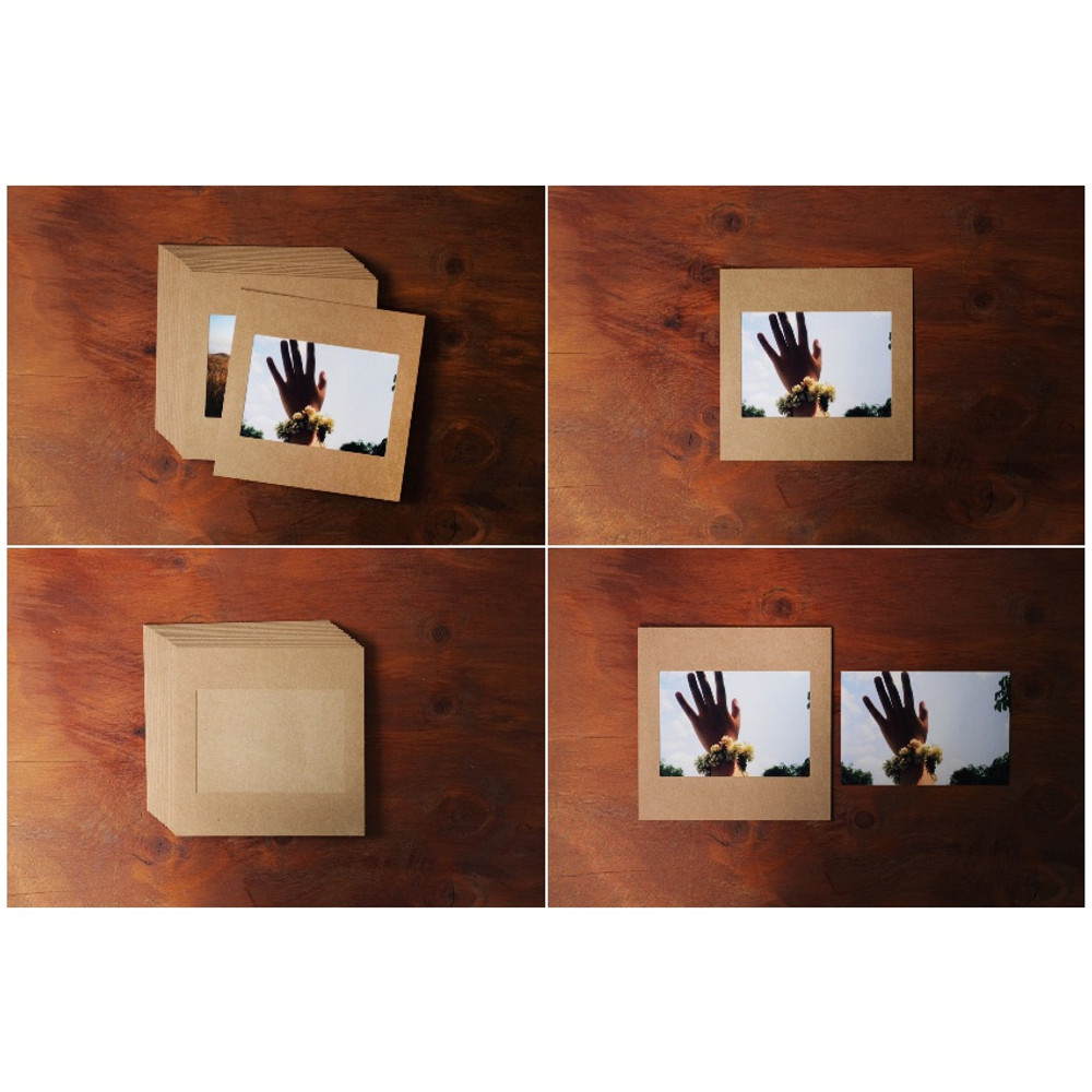 Detail of Square 4X6 kraft paper photo frame set o