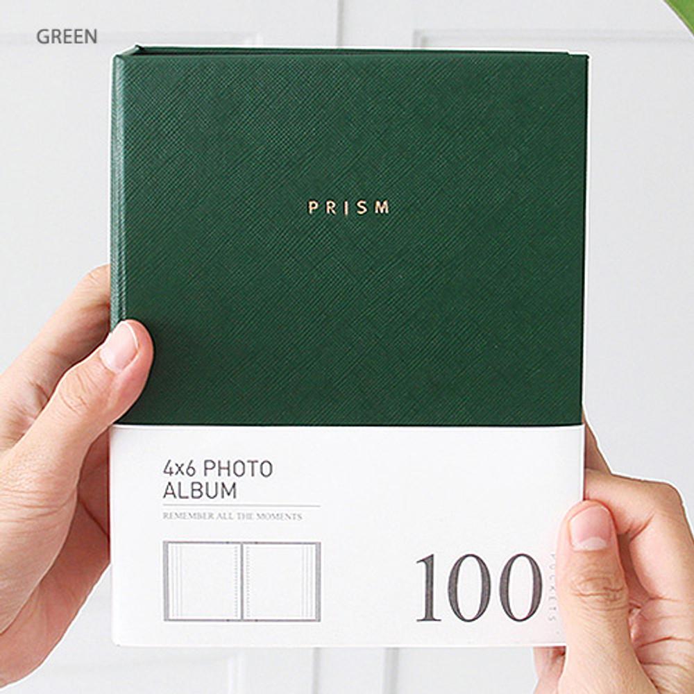 Green - Prism 4X6 slip in pocket photo album