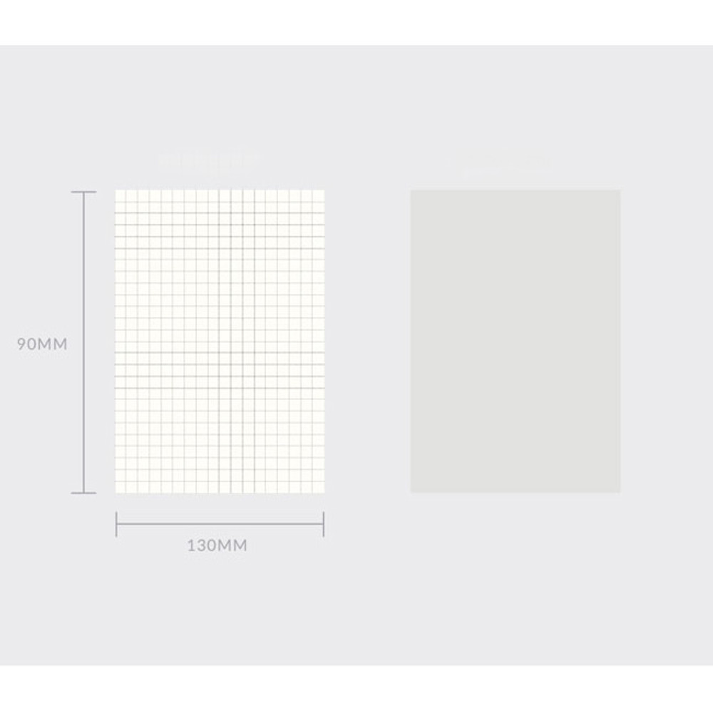Size of Spring feelings small grid and plain notepad