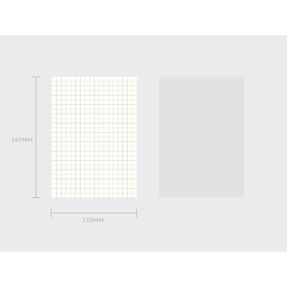 Size of Spring feelings medium grid and plain notepad