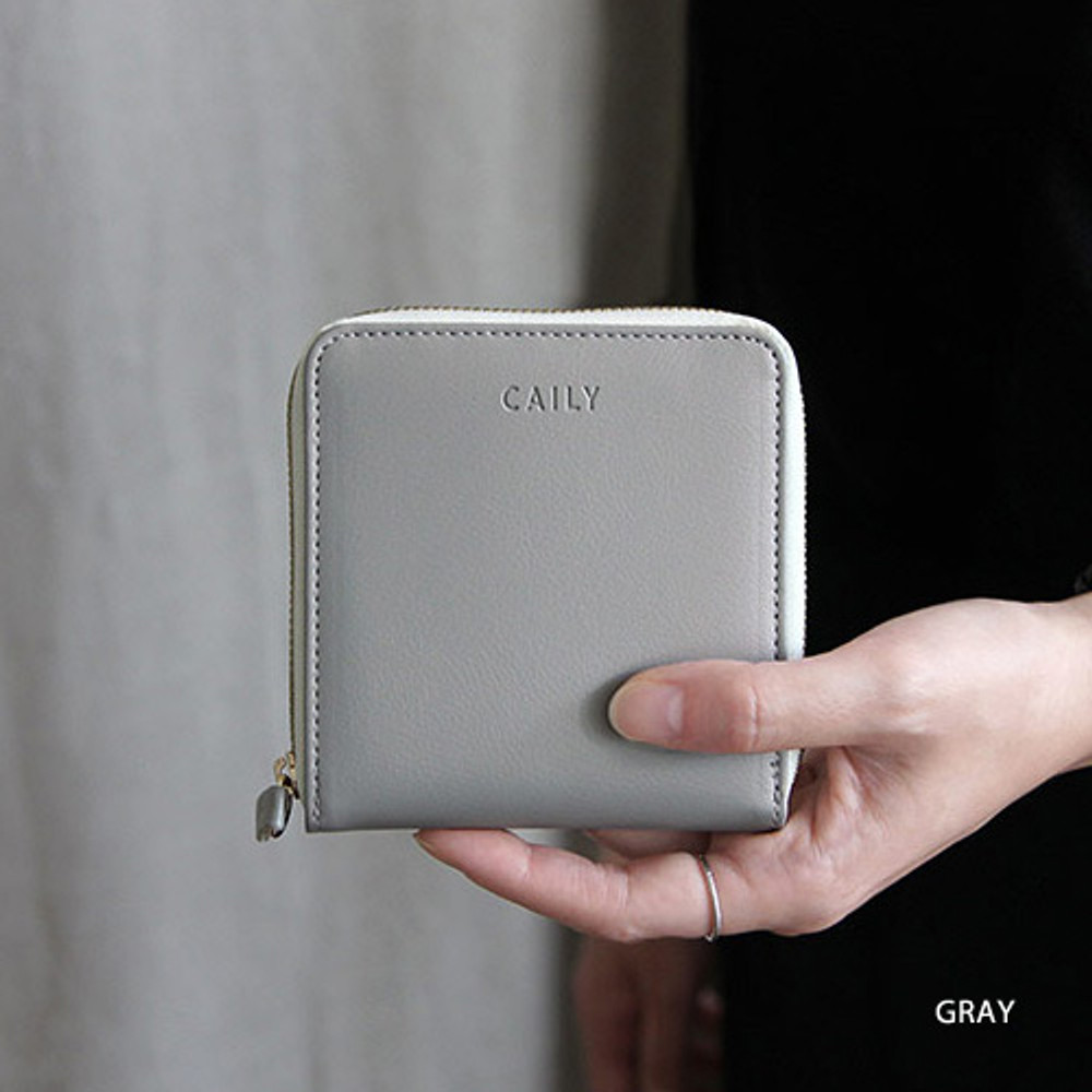 Gray - Caily zip around small wallet