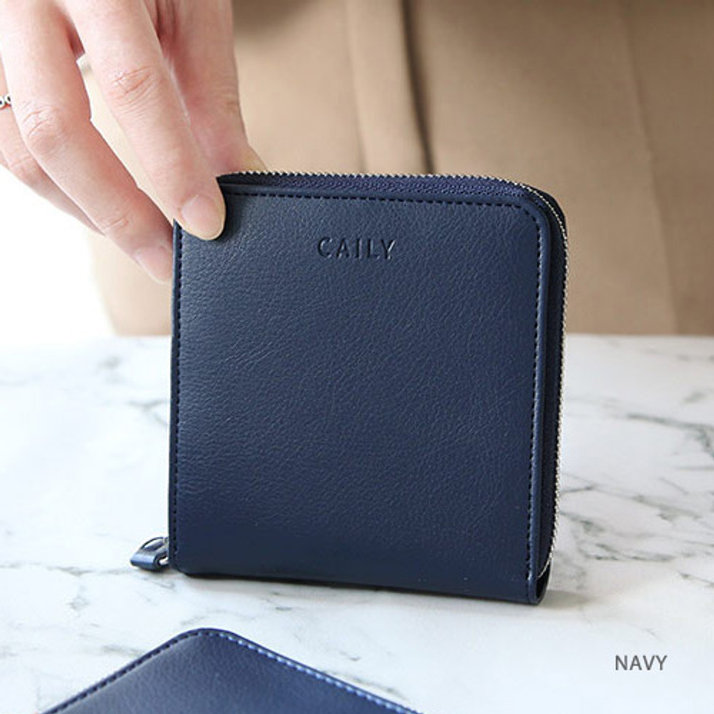 Navy - Caily zip around small wallet