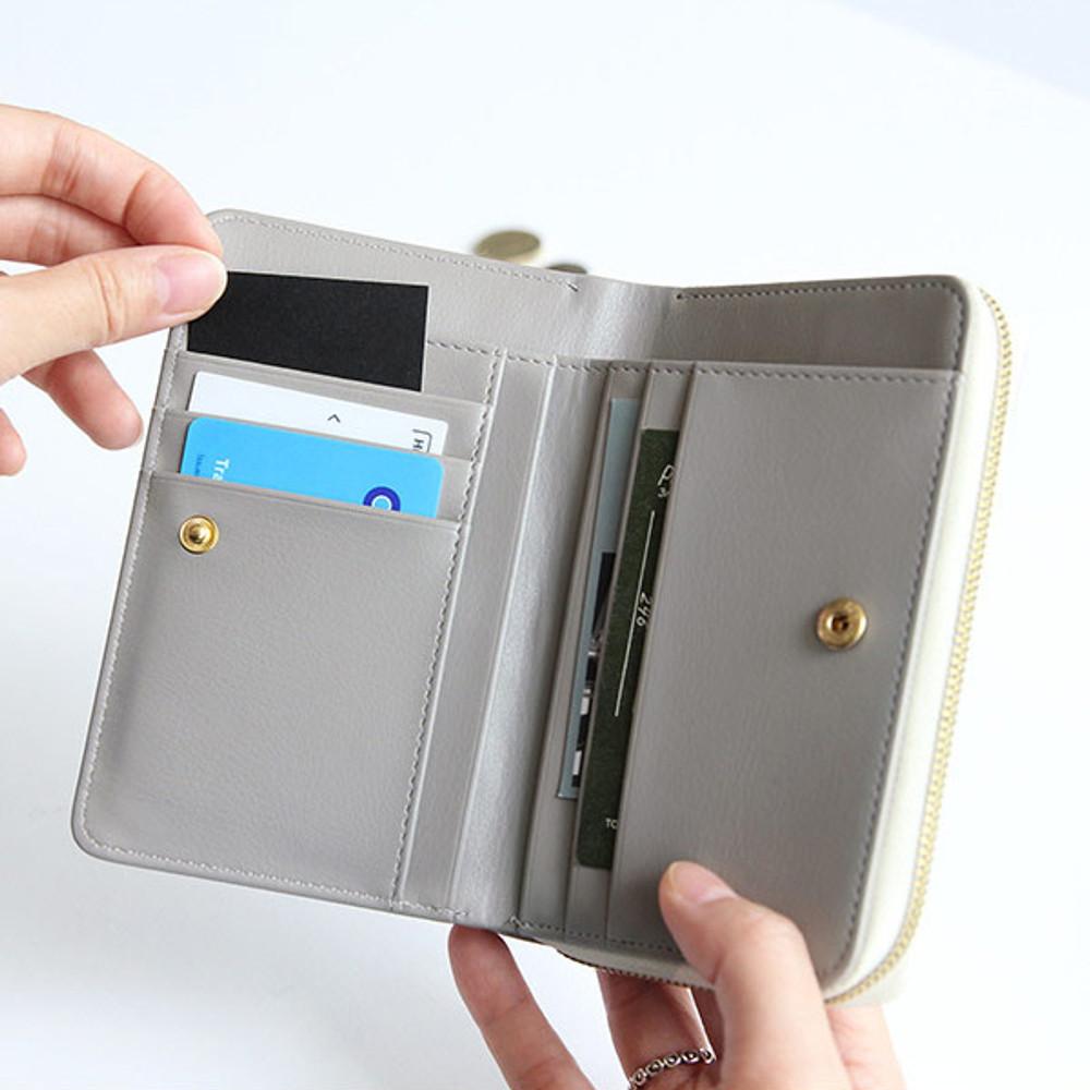 Gray - Caily zip around accordion medium leather wallet