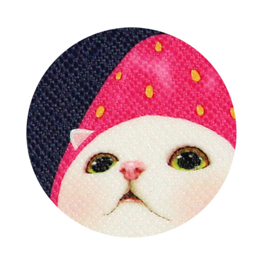 Detail of Choo Choo cat pattern slim zipper pouch