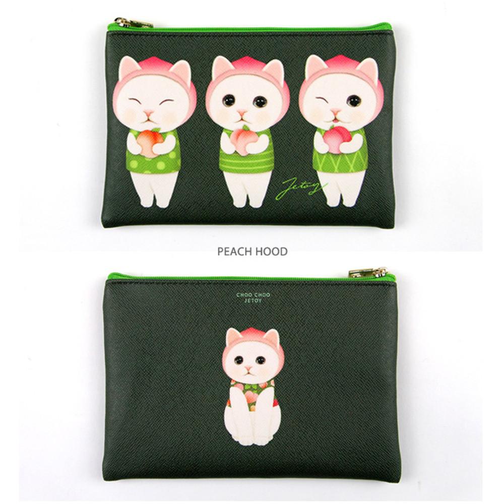 Peach hood - Choo Choo cat pattern slim zipper pouch