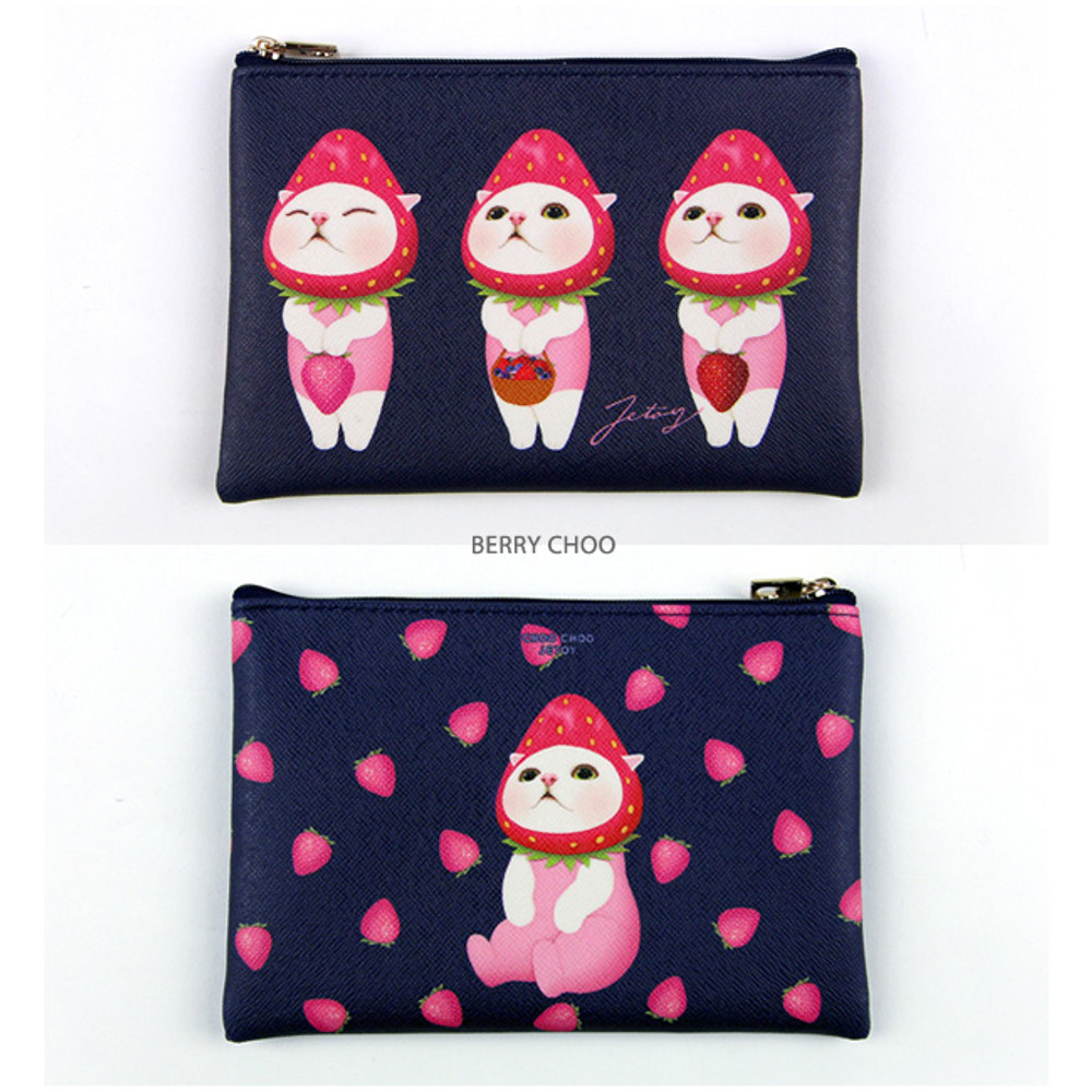 Berry choo - Choo Choo cat pattern slim zipper pouch
