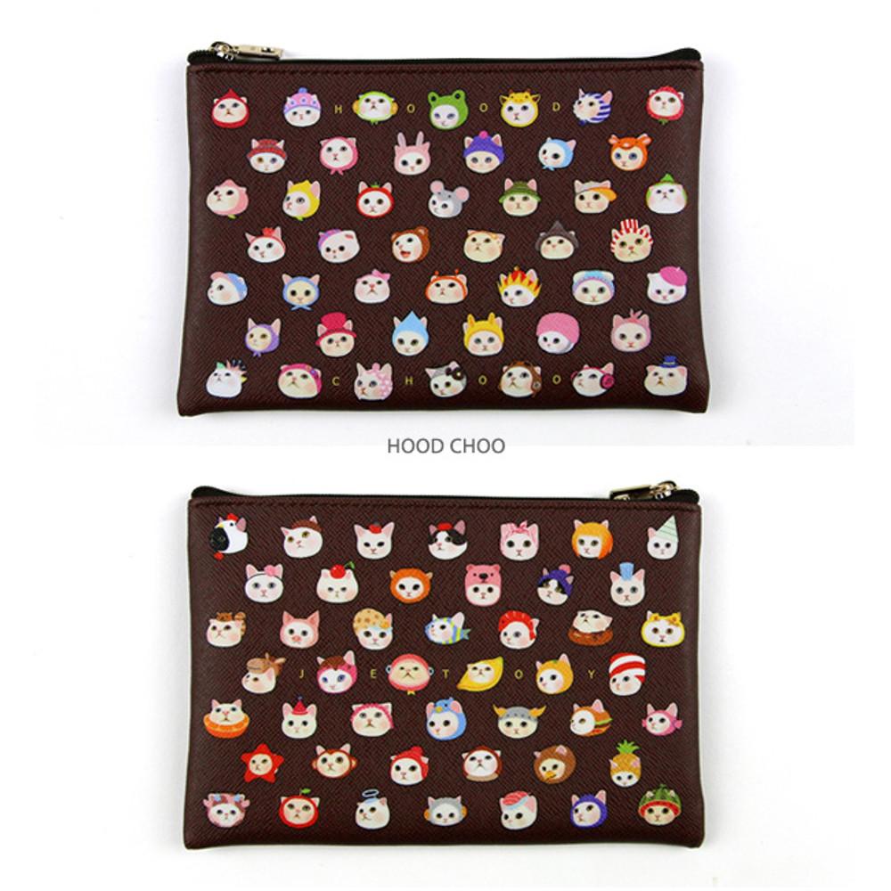 Hood choo - Choo Choo cat pattern slim zipper pouch