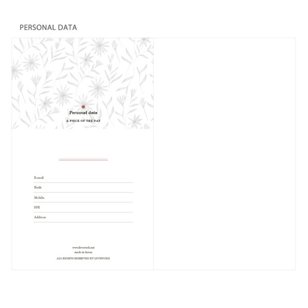 Personal data - Proust pattern undated weekly diary journal