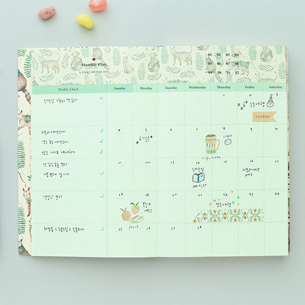 Monthly plan - Proust pattern undated weekly diary journal