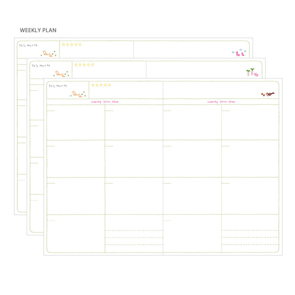 Weekly plan - Bon voyage city undated weekly planner