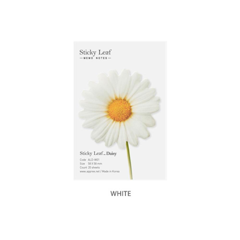 White - Daisy small sticky memo notes