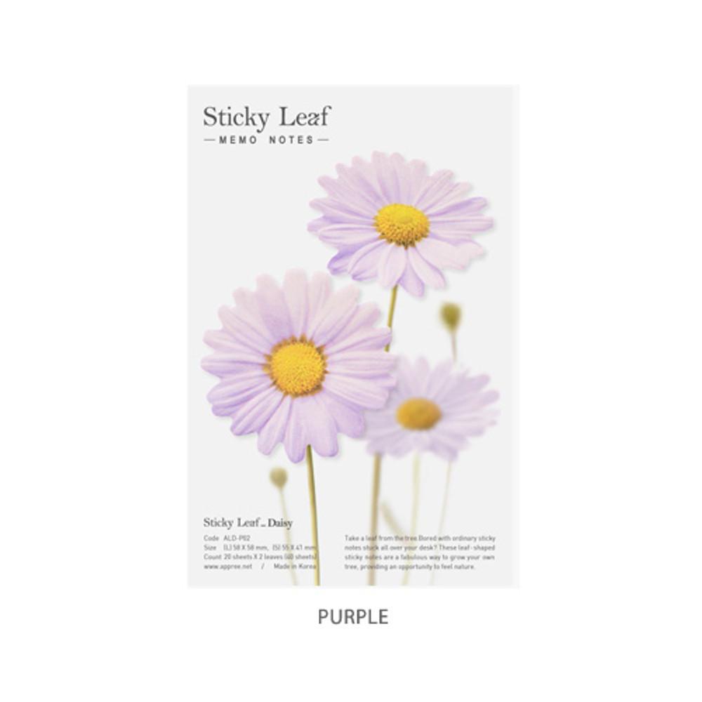Purple - Daisy Medium sticky memo notes