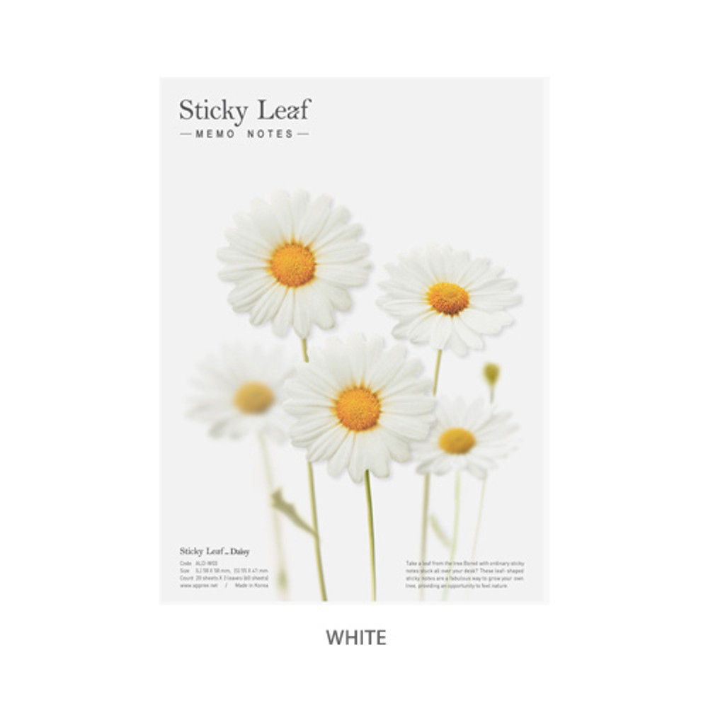White - Daisy large sticky memo notes