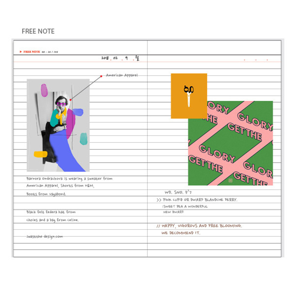Free note - Pictogram simple life medium undated weekly diary
