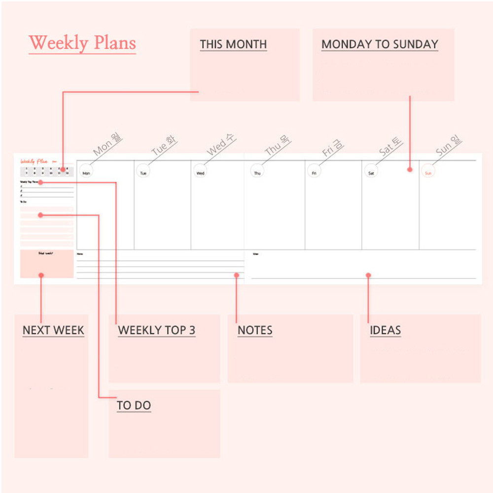 Weekly plan - Days desk hardcover undated weekly planner