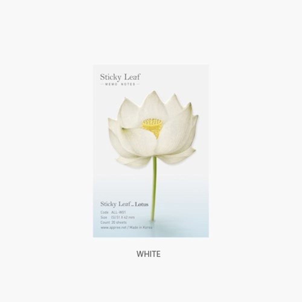 White - Lotus small sticky memo notes