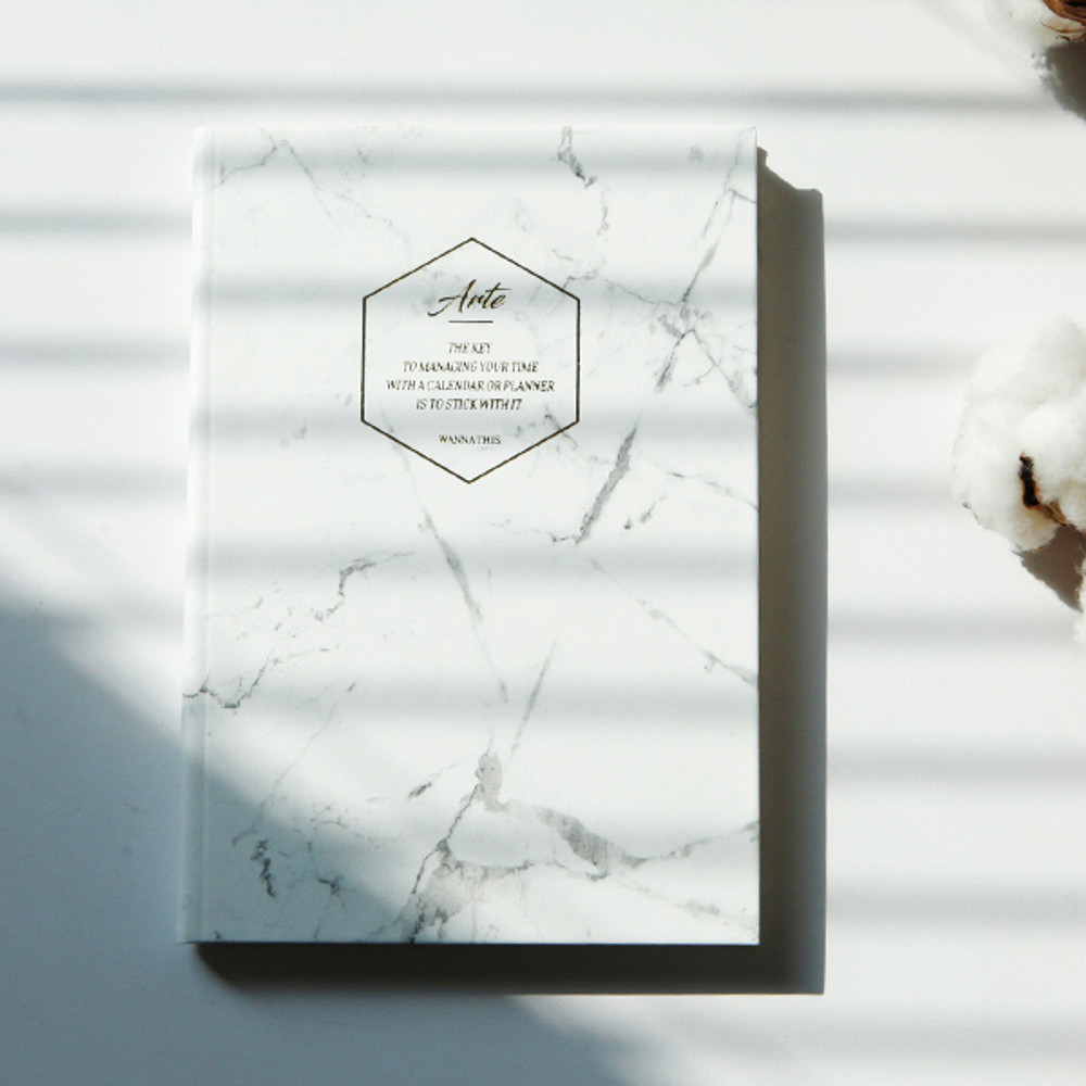 White marble - Arte undated daily diary scheduler ver2