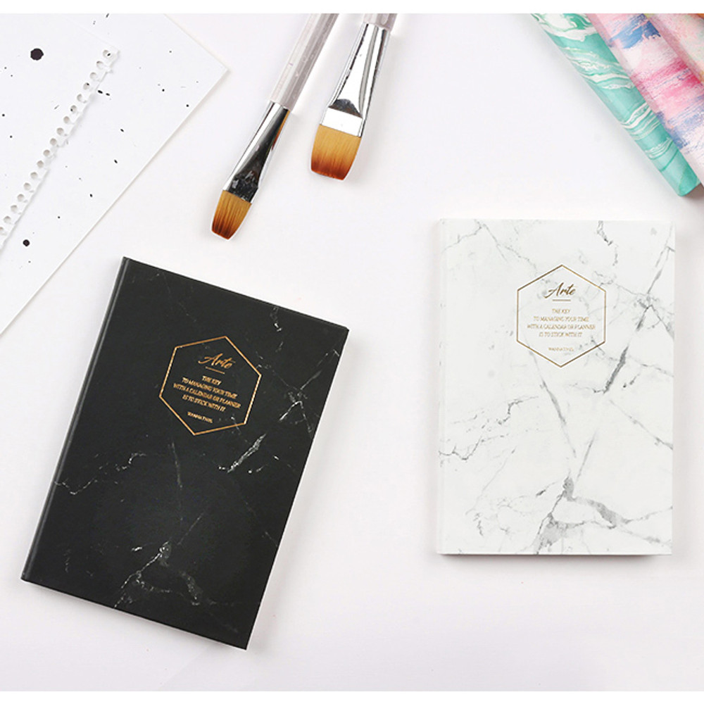 Black marble / White marble - Arte undated daily diary scheduler ver2