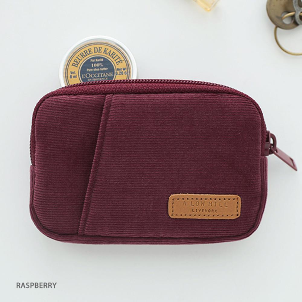 Raspberry - A low hill winter corduroy pocket card case