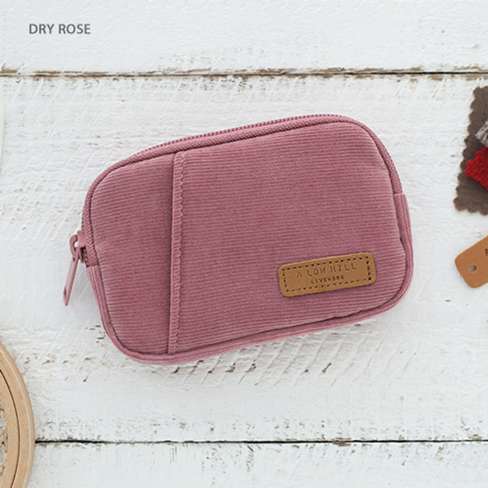 Dry rose - A low hill winter corduroy pocket card case