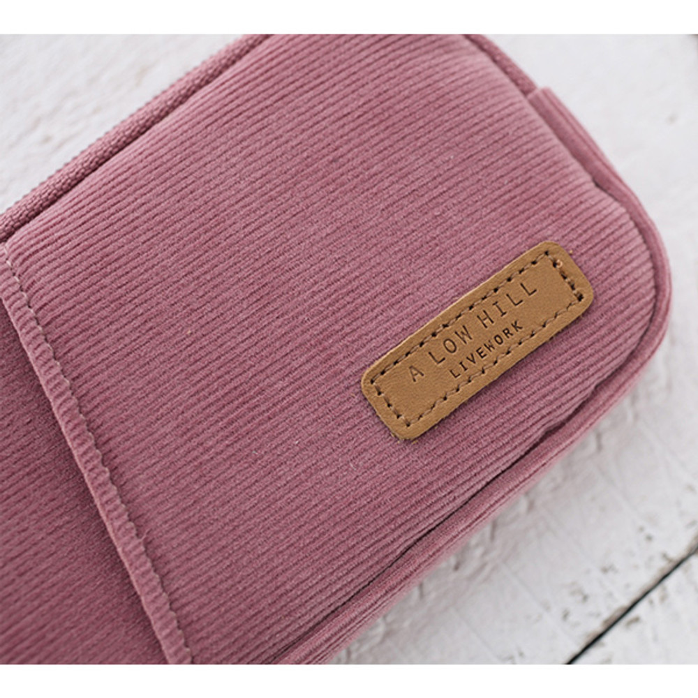 Detail of A low hill winter corduroy pocket card case