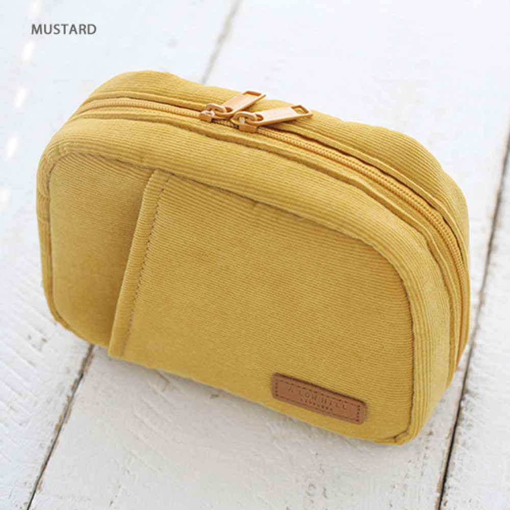Mustard - A low hill winter corduroy zip around small cosmetic pouch