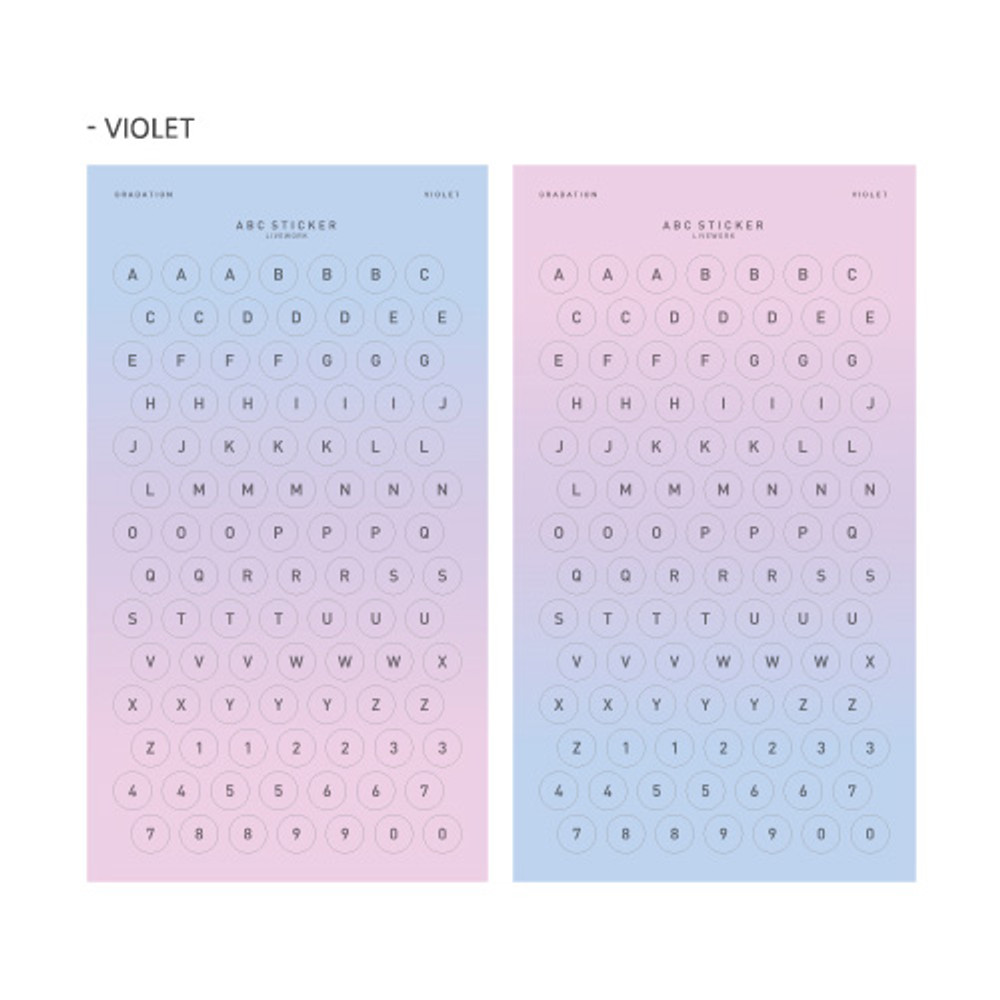 Violet - Gradation alphabet deco paper sticker