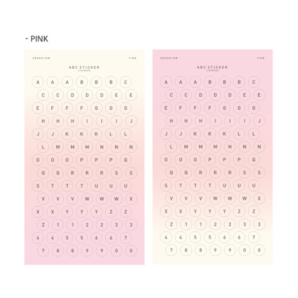 Pink - Gradation alphabet deco paper sticker